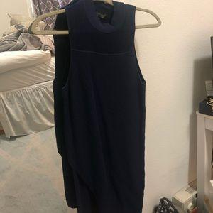 NWOT Topshop Navy blue mock neck dress
